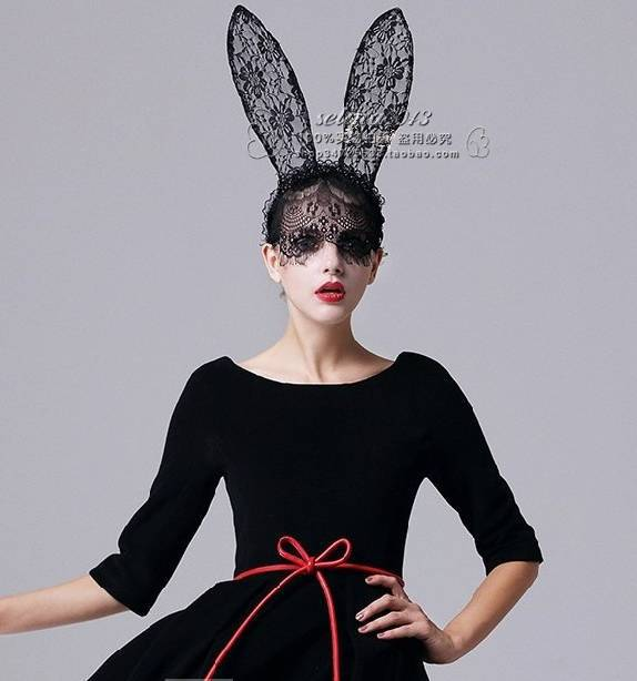 New Fashion Party QUEEN SHOW Lace Up PLAYBOY BUNNY Mask Long Ears Fancy  dress up NIGHT