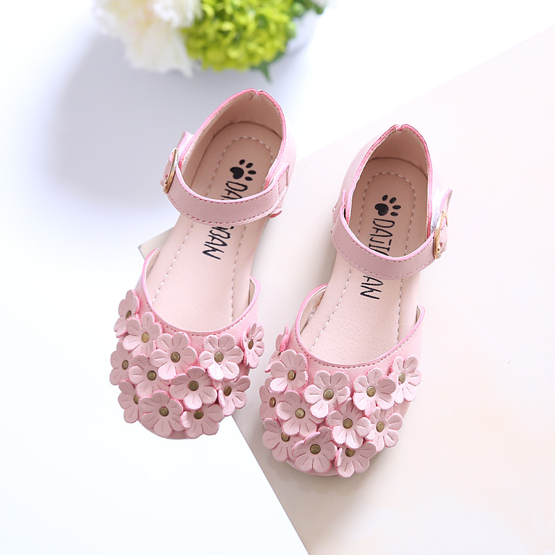 Children Shoes For Girls Leather Sandals Kids Slippers Baby Girls Princess Flower Sandals Fashion Beach Sandals