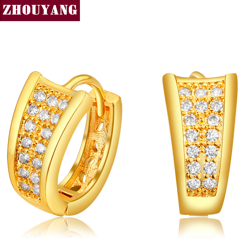 8a9ae40fb65a3d Fashion Design Gold Color Half Round Loop Cubic Zirconia Wedding Hoop  Earrings for Women ZYE831-in Hoop Earrings from Jewelry & Accessories on ...