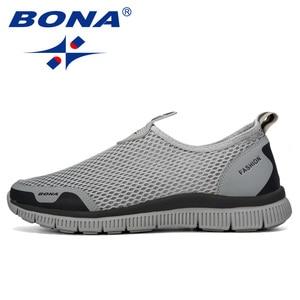 Image 4 - Мужские воздухопроницаемые кроссовки BONA, серые повседневные сетчатые Мокасины, удобная обувь для баскетбола, 2019