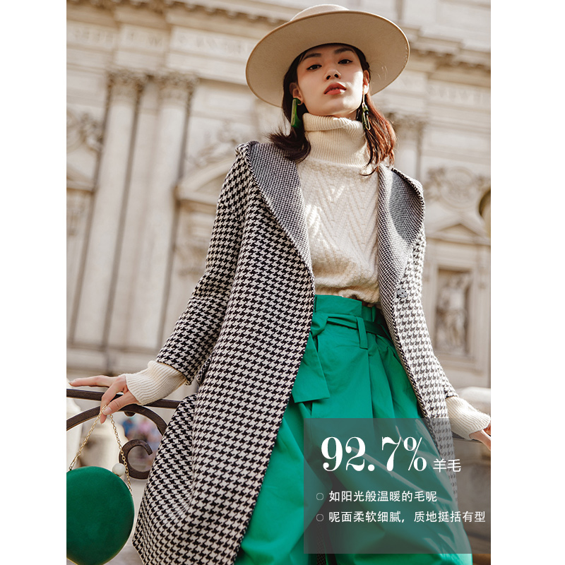 INMAN 2018 Automne Nouvelle Arrivée Laine Plaid Femmes Style Long Manteau