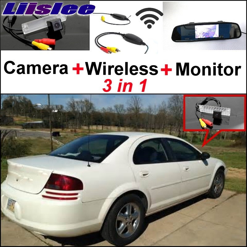 Liislee 3 in1 Special Camera + Wireless Receiver + Mirror Monitor EASY  DIY  Parking System For Dodge Stratus 2001~2006 wireless pager system 433 92mhz wireless restaurant table buzzer with monitor and watch receiver 3 display 42 call button