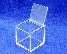 """כיכר 8x8x8 ס""""מ פרספקס אקריליק קופסא תכשיטי מקרה טובה תיבה עם מכסה צירים"""