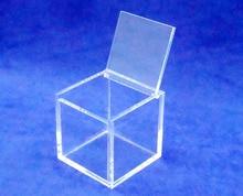 Plac 8x8x8 cm pleksi pudełko z biżuterią obudowa akrylowa pudełko upominkowe z pokrywą na zawiasach