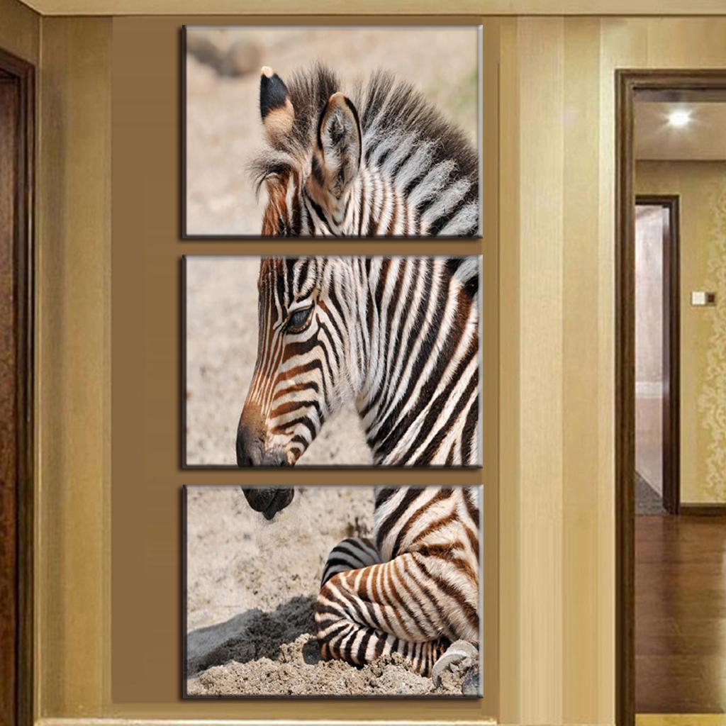 unidsset animal cebra pinturas grandes pinturas lienzo vertical formas pared artes decoracin del hogar de la lona pintura