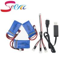 7.4 V 1400 mAh lipo Batería 3 unids baterías y cargador USB para wltoys A959-b A969-b A979-b K929-B RC coche parte al por mayor