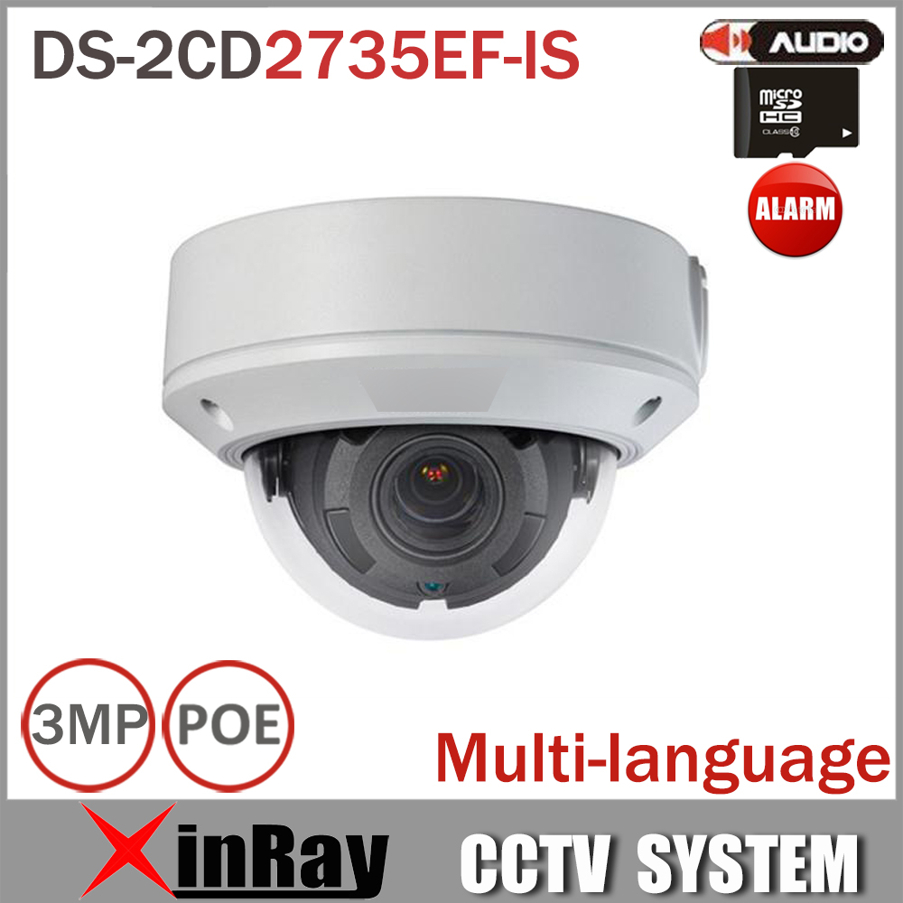 HIK IP Camera DS-2CD2735EF-IS Replace DS-2CD2732F-IS 1080P CCTV IP PoE Camera 3MP Varifocal Lens with Alarm and Audio I/O Slot
