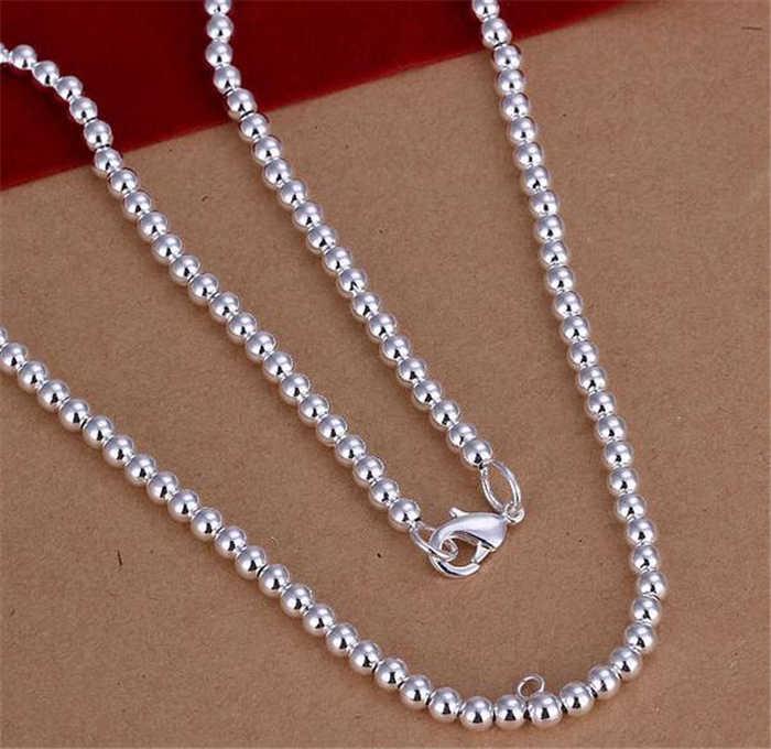 925 серебряные ожерелья для женщин 4 мм бусины шаровая цепь ожерелье 18 дюймов модные ювелирные изделия рождественские подарки возможна Прямая поставка