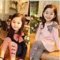2016 new children clothes suit girl big bow casual shirts and striped Leggings children in spring and summer clothes