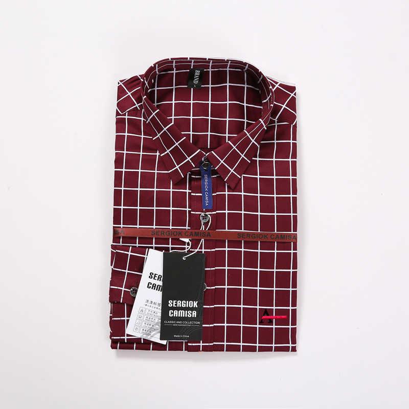 Sergio K Dudalina 2020 Männlichen Hemd Camisa Casual Herren Hemd Slim Fit Plaid Shirt Lange hülse Männer Shirt