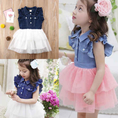 75dc1329cbc 2018 Summer New Princess Kids Girls Jeans Tulle Dress Toddler Baby Girl  Sleevless Denim Tutu Formal