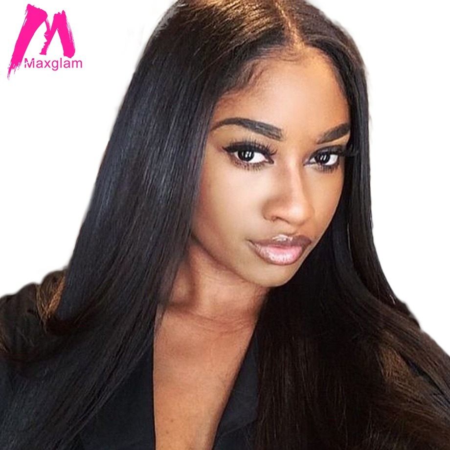 Maxglam Lace Front Human Hair Wigs For Black Women Brazilian Straight Lace Frontal Wig With Pre Plucked Baby Hair 4X13(China)
