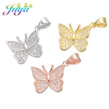 Juya 6 шт./лот DIY золото/серебро/розовое золото бабочка Шарм Подвески для женщин модные браслеты ожерелье изготовление сережек