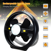 Camping Tent USB Fan Light 10 LED Rechargeable Lantern Portable Bright Lamp Power Bank Function TSH Shop