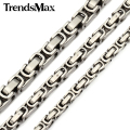 Trendsmax Custom ANY Length 5/6/8mm Byzantine Box Mens Chain Boys Stainless Steel Necklace Fashion Jewelry KNM21