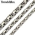 Trendsmax aduana cualquier longitud 5/6/8mm mens boys cadena bizantina caja de acero inoxidable de joyería de moda collar knm21