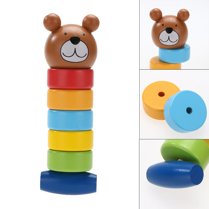 New Baby toys Creative Wooden Educational Cartoon Stacking Block Toy Rainbow Tower Children Gift Baby Kid Toys т а евтеева немецкий за 5 минут