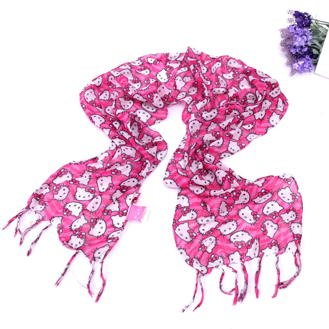 0cce16596 wholesales! new tassels style silk scarf hello kitty print wraps child scarf  girl pashmina shawls +free shipping