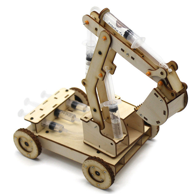 STEM Educational Toys for Children Science Experiment Technology Toy Set Excavator System Model DIY Puzzle Painted Kids Toys