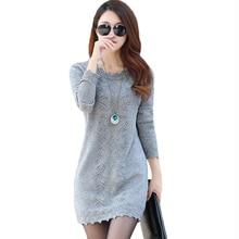 Женские свитера, платья, пуловеры, новинка, Осень-зима, длинный вязаный свитер, вязаная одежда, женские мини платья с длинным рукавом