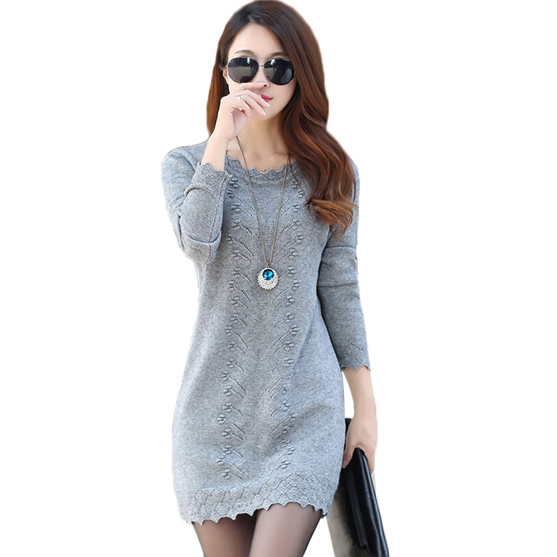 Women Sweaters Dress Pullovers 2019 New Autumn Winter Long Knitted Sweater Knitwear Female Long Sleeve Bottoming Mini Dresses