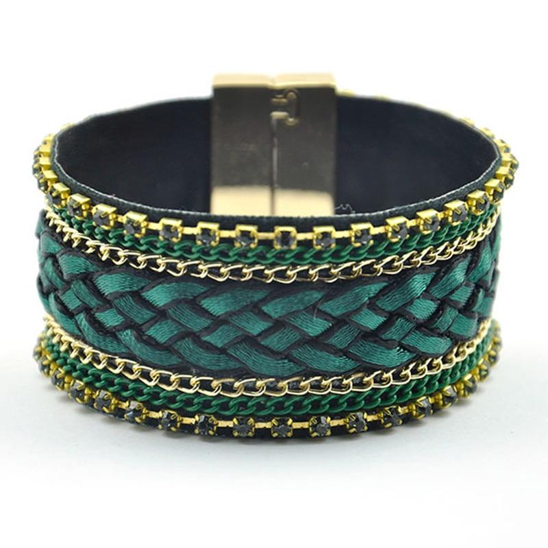 Green Wide Bracelet W/ Rhinestone Golden Emblishment Boho Bangles Hand Knot | Wristband Magnetic Closure Poolside Bracelet Femme