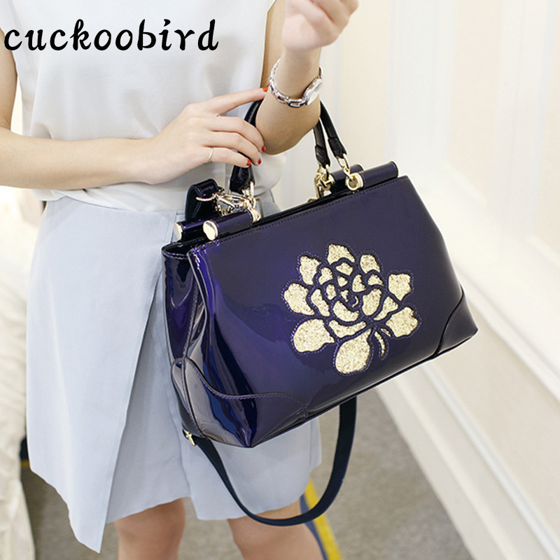 Cuckoobird Satchels Bag Patent Leather Shoulder Bags For Women Summer Fashion Solid Color with Embroidery Floral Handbag Bag patent leather handbag shoulder bag for women page 10