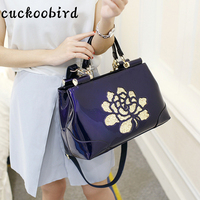 Cuckoobird Satchels Bag Patent Leather Shoulder Bags For Women Summer Fashion Solid Color With Embroidery Floral