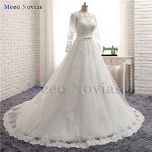 Vestidos de Novia Ball Gown Long Sleeve Wedding Dress See Through Bodice Sexy Wedding Gown Robe de mariage 2017 Vestido de Noiva