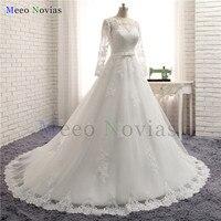 Vestidos De Novia A Line Long Sleeve Wedding Dress See Through Bodice Sexy Wedding Gowns Robe