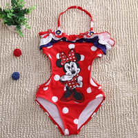 2016 Girls Swimwear Minnie Mouse One Pieces Swimsuit Kids Ruffled Swimming Suit For Girl Children Bathing