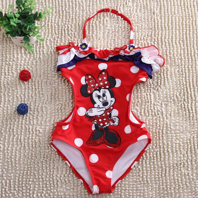 retail  Girls Swimwear Minnie Mouse  One Pieces Swimsuit Kids Ruffled Swimming Suit For Girl Children Bathing Suit  retail cute girls swimwear ariel one pieces swimsuit kids ruffled swimming suit for girl children bathing suit with cap