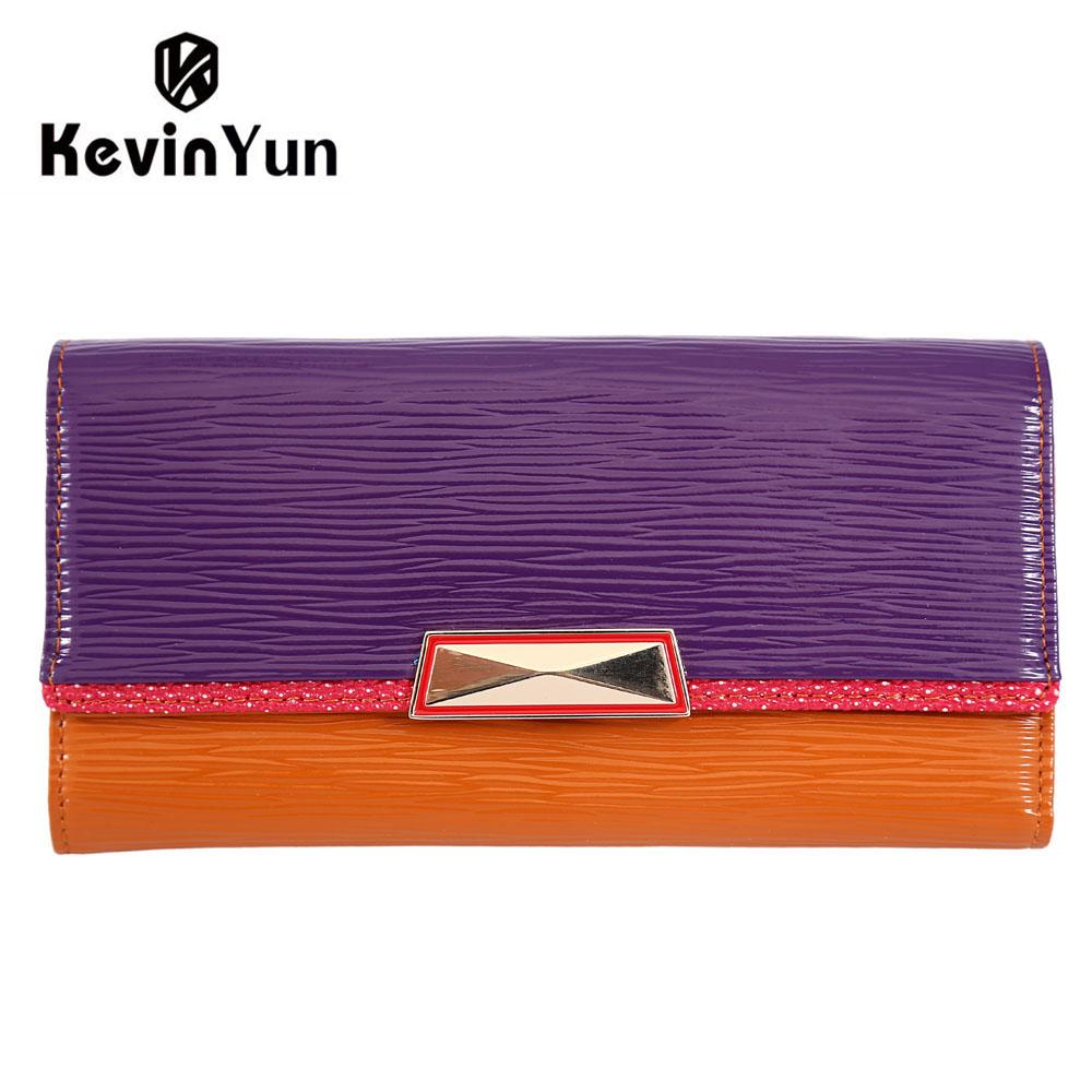 Prix pour KEVIN YUN de mode designer femmes portefeuilles à long véritable sac à main en cuir femelle embrayage portefeuille patchwork carteira