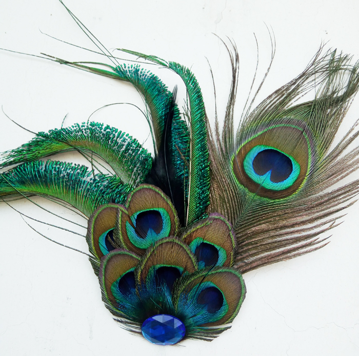 New Free Shipping fashion casual Mens male Korean Peacock Feather Brooch Pin Blue Retro stage host Headdress female personality