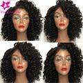 8A sin procesar virginal brasileño gluess pelo peluca llena del cordón del pelo humano con el bebé de pelo corto y rizado peluca del frente del cordón para las mujeres negras