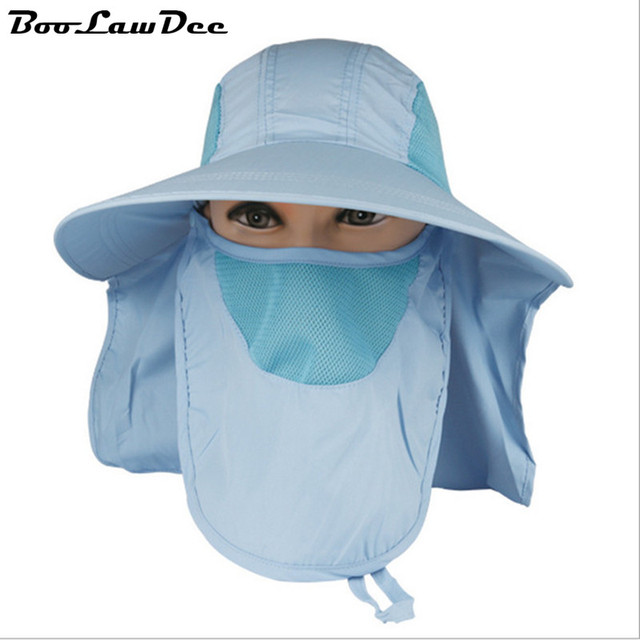 BooLawDee 360 sun protecting men women face covered caps 56cm to 59cm adjust purple armygreen khaki skyblue royalblue rose 4F007