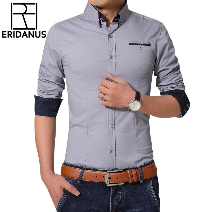 ERIDANUS 2016 Men Dress Shirts Autumn New Fashion Pure Color Man Long Sleeve Cotton Slim Fit Leisure Styles Business Shirt M432