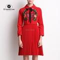 Spring Runway Dress Women 2017 Luxury Brand Red Dress