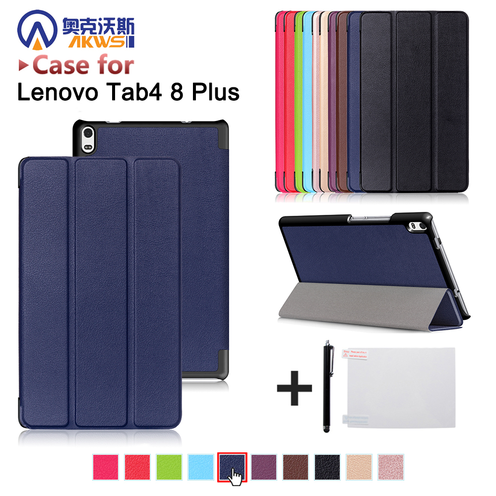 Funda cover case for Lenovo TAB 4 8 Plus TB-8704N/TB-8704F (2017 new release) folio triangle stand cover case+gift