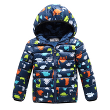 2017 зимой дети хлопка-проложенный вниз парки одежда мальчиков с капюшоном полупальто куртки детский мультфильм печати Верхняя Одежда 100-140