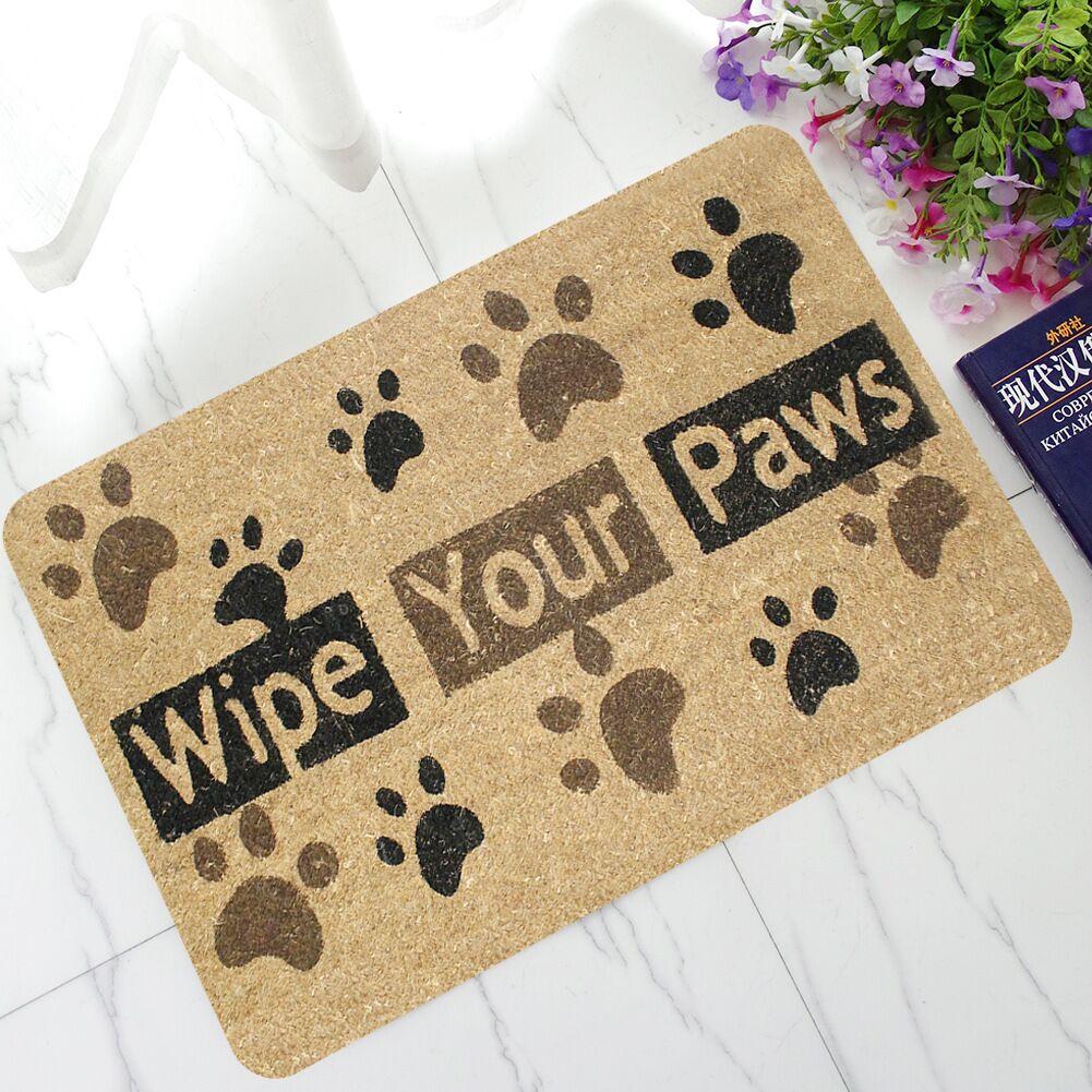 Dog Paw Funny Words Rubber Outdoor Welcome Anti Slip Kitchen Mat Rugs Doormat For Entrance Door Pad Tapetes Mats apis De Cuisine