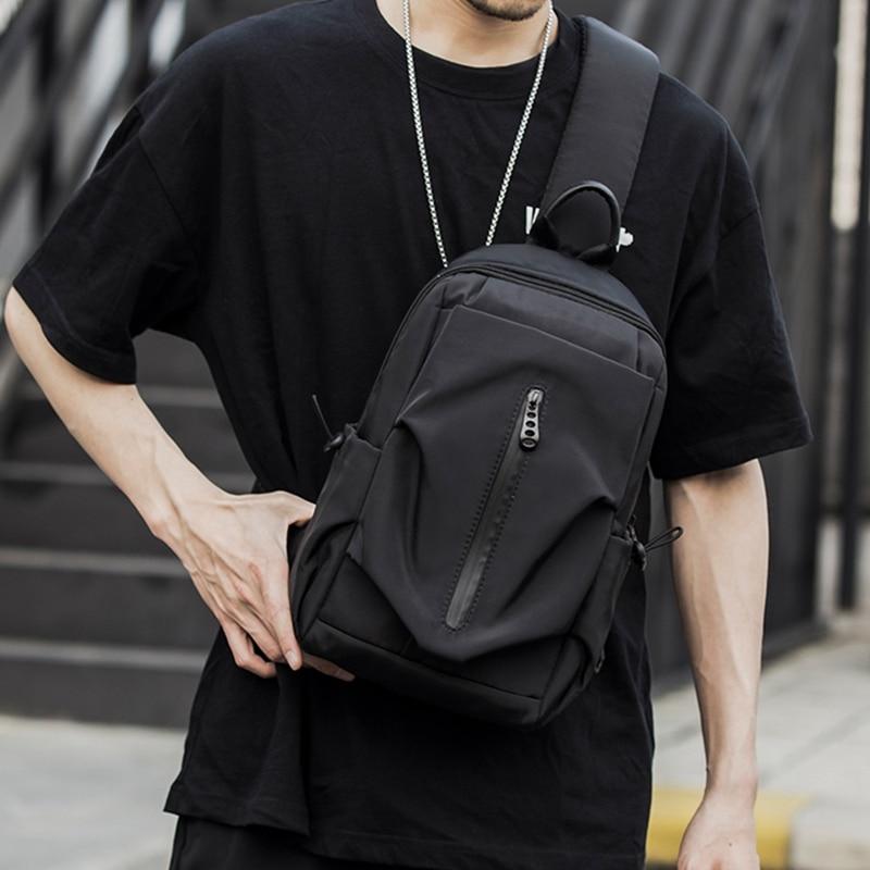 MOYYI Multifunction Crossbody Bags Men Chest Pack Short Trip Messengers 7 Pockets Water Repellent Shoulder Bag Male For Winter