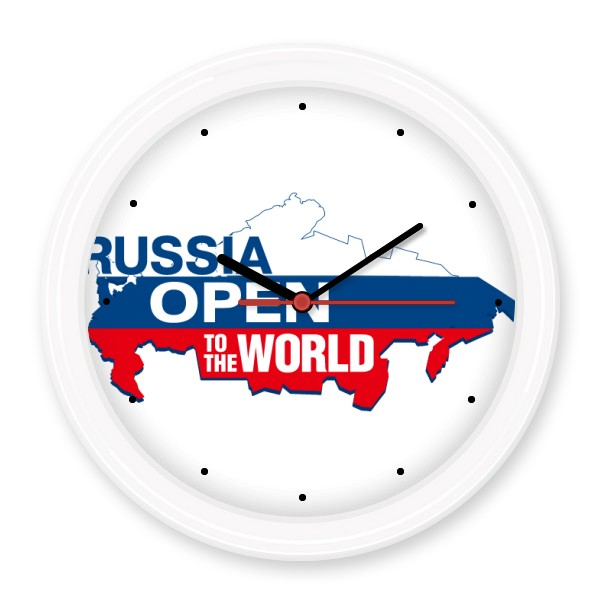 Russia Open To The World Flag Map Silent Non-ticking Round Wall Decorative Clock Home Decal Wedding Decoration