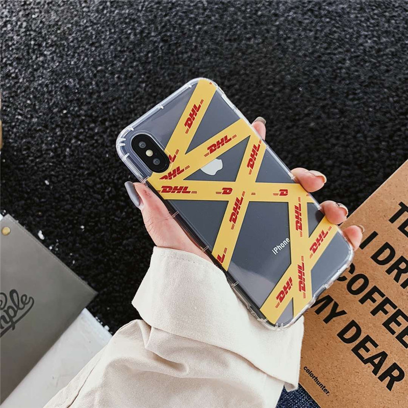 Hot luxury street trend stripe label white phone case for iphone 11 X XS PRO MAX XR 6 6S 7 8 plus yellow clear tpu cover coque