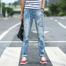 Punkt Gebleichten Gerade Jeans Männer Mode Loch Jeans Zerkratzt Ripped Skinny Jeans Hombre Jeans Uomo MB16225