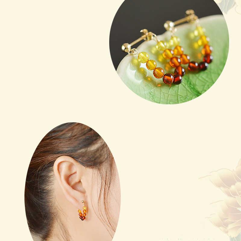 Yoowei Alami Amber earrings Wanita Unik U Desain Perhiasan Trendy Asli Klasik Kecil Baltik Amber Anting untuk Etsy
