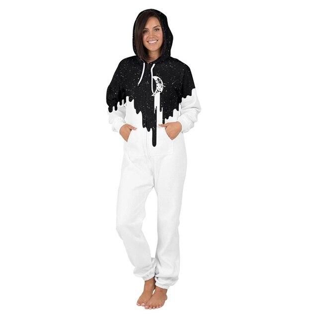 0347c8490d Men women Warm 3d Print Onesie Fluffy Sleep Lounge Adult Outwear One Piece  Pyjamas Male Jumpsuits Hooded Onesies Adult