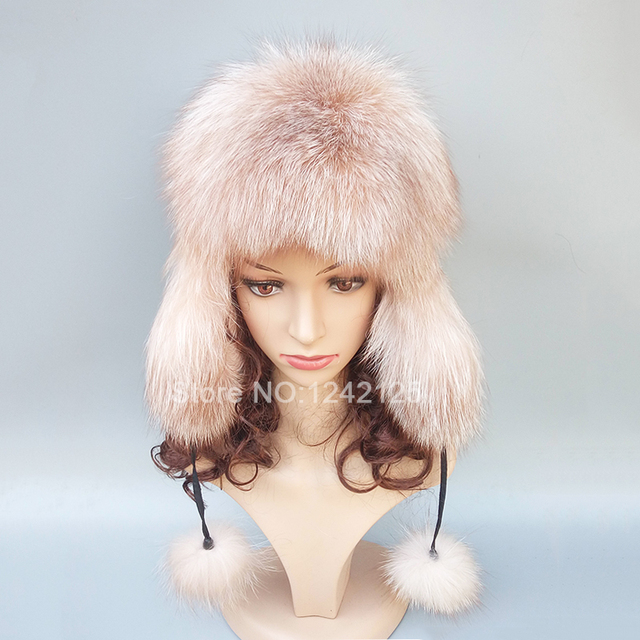 New Winter warm Russia genuine fur hat Women Men real fox fur hat with  pompom ear Earmuff Gold real fur hats cap Bomber Hats 47c47c4d8d5