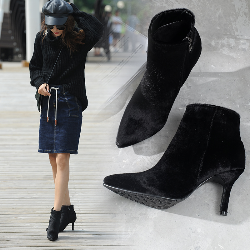 ФОТО New Arrival Fashion Black Horsehair Ankle Boots Women Pointed Toe 8CM Thin High Heel Short Boots Winter