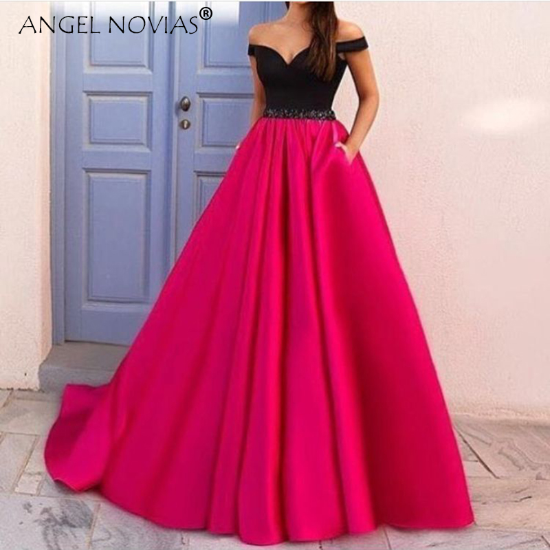 Angel Novias Long Elegant Red Prom Dress 2018 with Pocket Evening ...